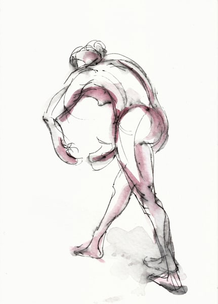 C-Curve Dancer Art Ink and Watercolor Painting