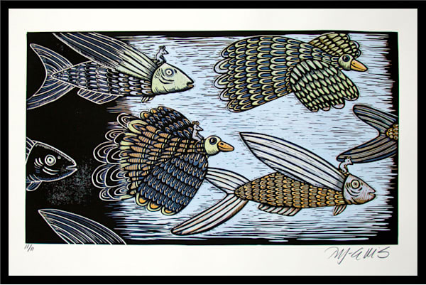 ducks and fish, with mice on their backs, in this fairytale linocut hand printed by printmaker Mariann Johansen-Ellis, art, paintings