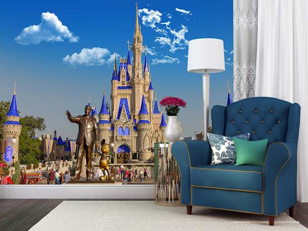 Partners and Cinderella's Castle - Disney Wall Murals | William Drew