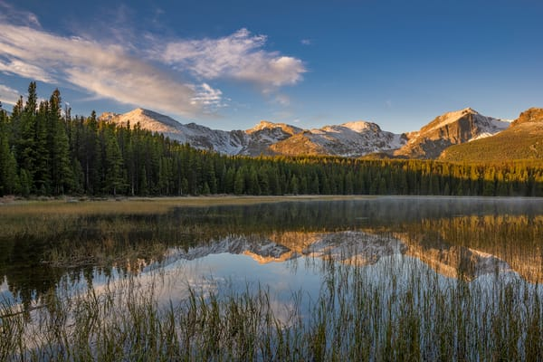 Photo of Bierstadt Lake at Sunrise with Layer of Mist & Fog - RMNP