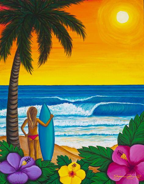 Hawaii Art | Sunset Surf by Stephanie Boinay