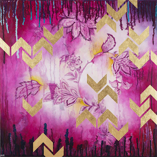 Chevrons Fuchsia, a fine art original painting by Heather Robinson