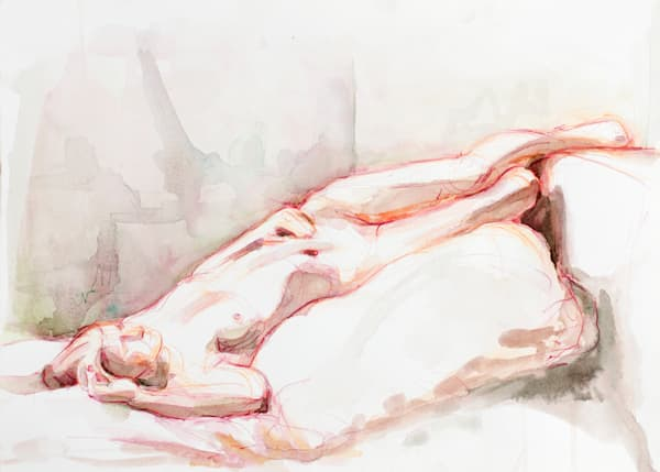 Red and Green Reclining Female Fine Art Nude Original Watercolor Painting