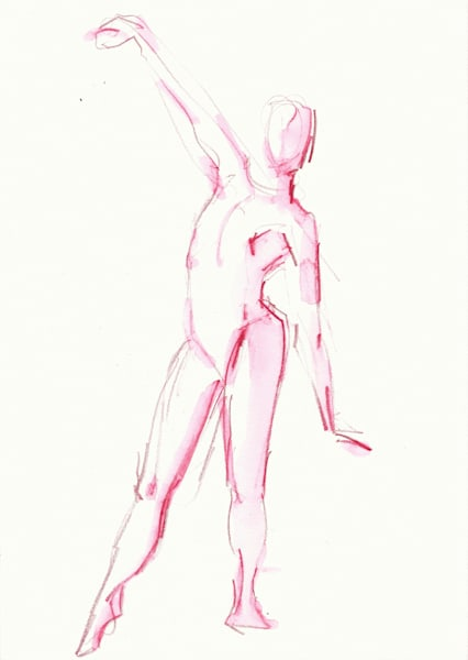 Watercolor Pencil Art: Original Dance Art by Michelle Arnold Paine
