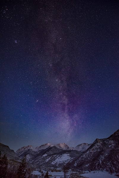 Photograph of the Milky Way Over Ypsilon Mountain in the Mummy Range