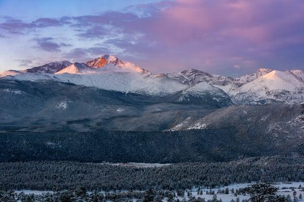 Colorful Sunrise Photo of Snowy Longs Peak with Beaver Meadows - RMNP