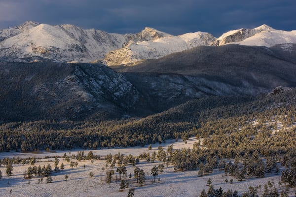 Sunrise Photo of Snow Capped Peaks in Rocky Mountain National Park
