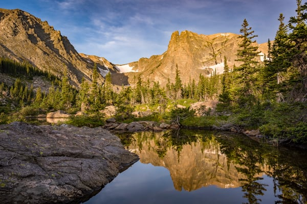 Photo of Notchtop Mountain Reflecting in a Cove of Alpine Pond - RMNP