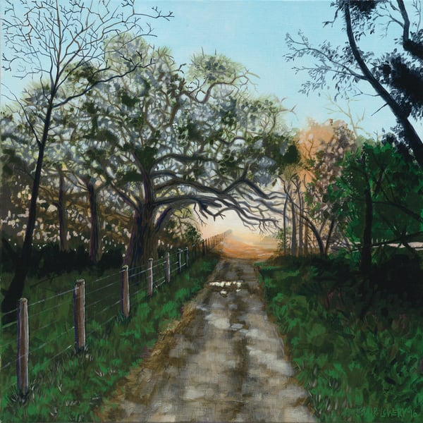 Painting of a sunrise along a dirt road available as art prints.