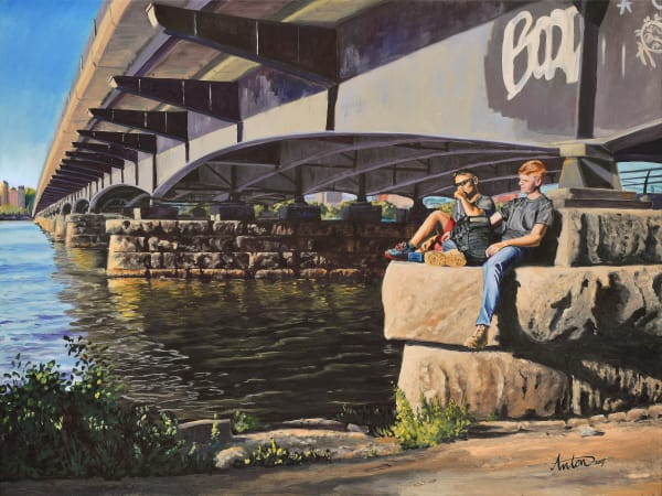 Under Harvard Bridge by artist, Anton Uhl