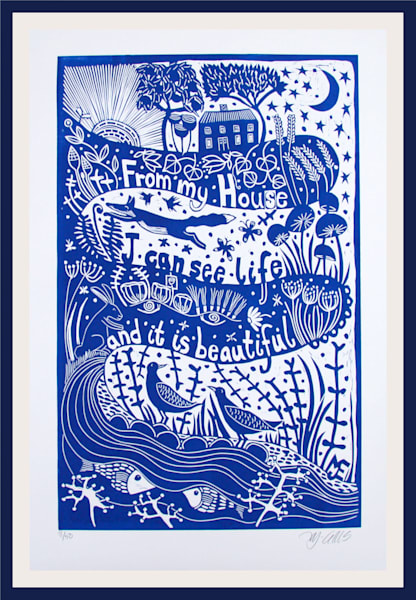 Life is beautiful is an inspirational original linocut print, handprinted by the artist in blue colors. printmaking by Mariann Johansen-Ellis, art, painting