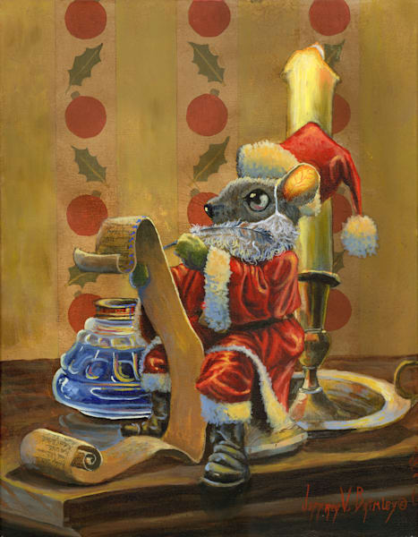 Santa mouse checking the list