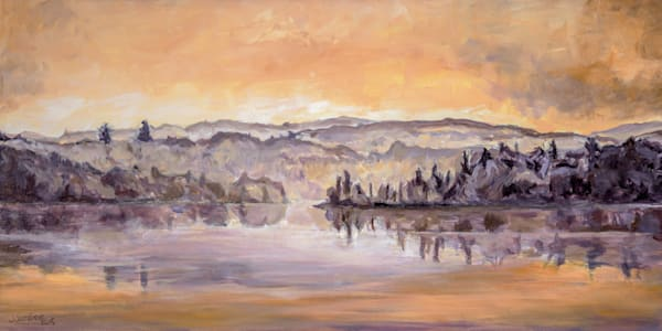 Prints of this tranquil painting, Muskoka Morning, by Janet Jardine