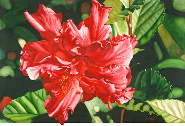 Double Red Hibiscus - Original
