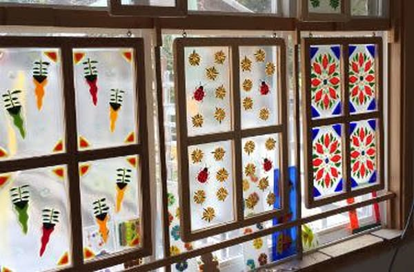 Fused glass window - 4 pane
