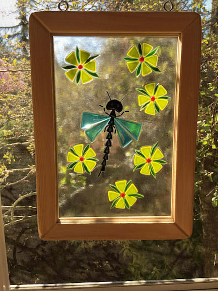 Fused glass window - bees