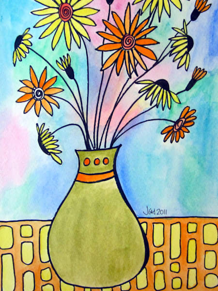 Watercolor Daisies Flower Art For Sale