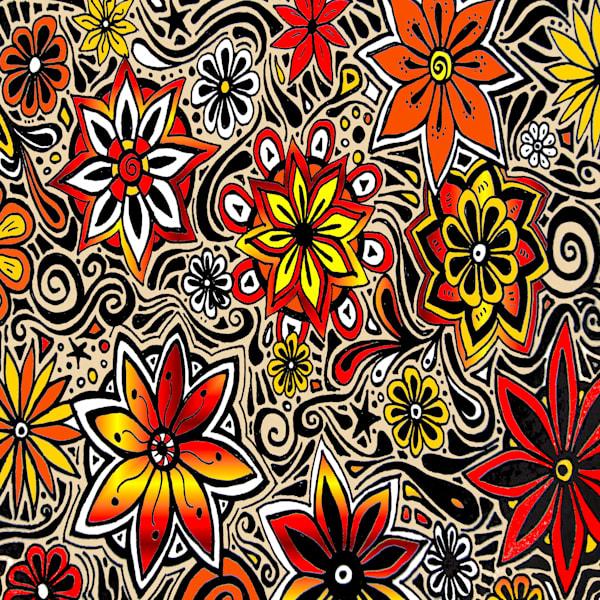 Flower Power in Orange Art For Sale