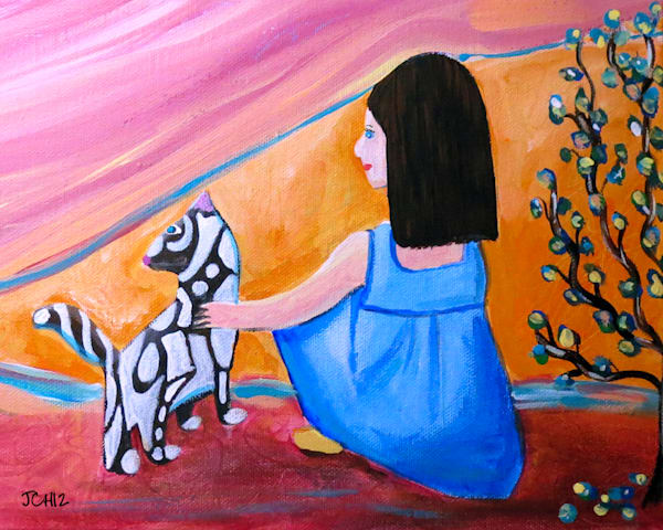 Girl With Groovy Cat Art For Sale