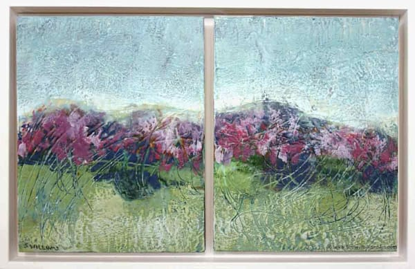 Original Encaustic Painting - Distant Hills, abstract horizon originals by Shirley Williams