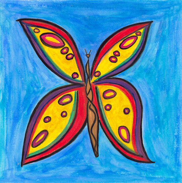 A New Day Butterfly Watercolor Painting by Paul Zepeda Prints on Wet Paint NYC - Affordable Art Available for Purchase
