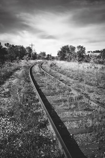 Black & white abandoned train track prints for sale | Sage & Balm Photography