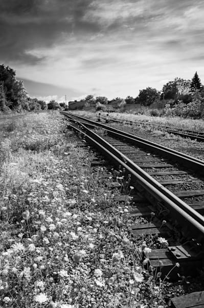 Black & white fine art train track photographs for sale | Sage & Balm Photography