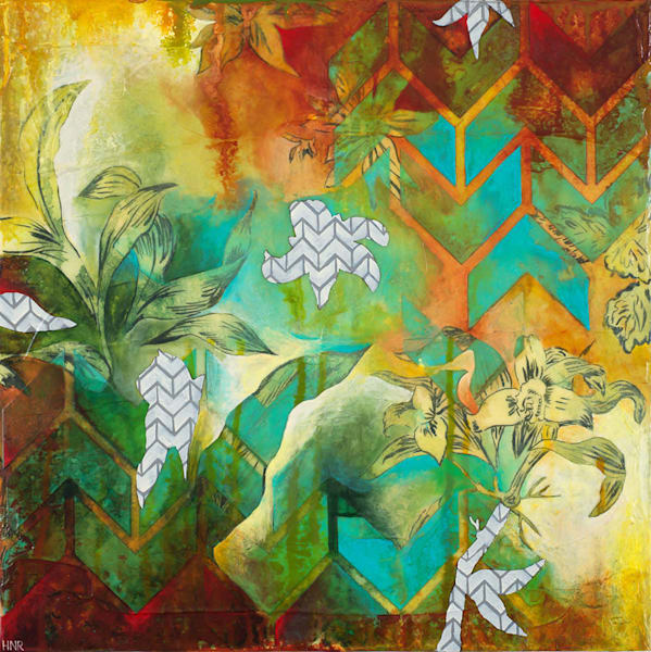 Chevrons Floral 1, an original mixed media art painting by Heather Robinson