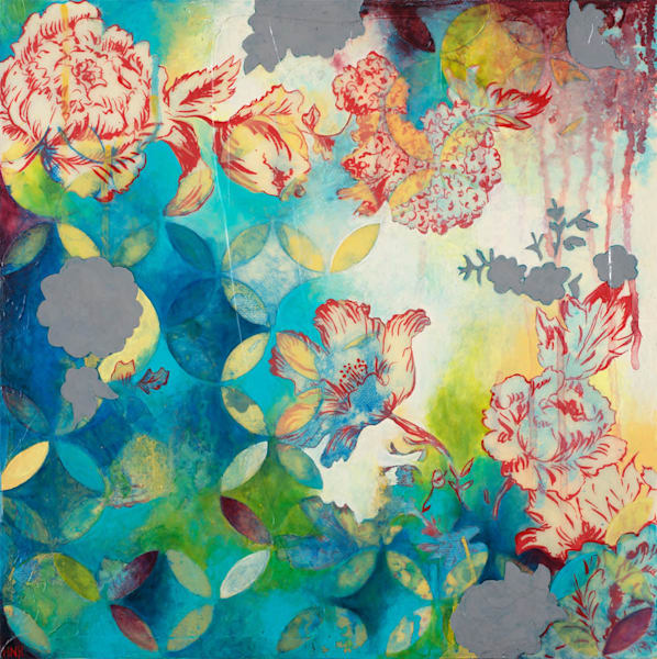 Arcs Floral 3, an original mixed media art painting by Heather Robinson