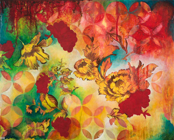 """Arcs Floral 2,"" an original mixed media art painting by Heather Robinson"