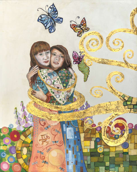 Designs by Teri | Teri Vereb Fine Art Paintings | Embracing Love Lesbians | Klimt
