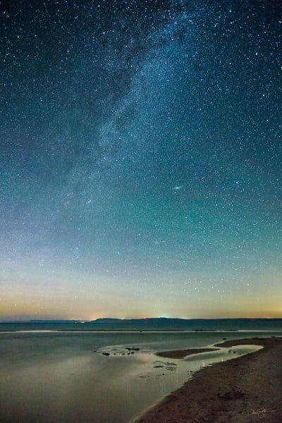 Stars and the Milky Way over the outlet of the Platte River