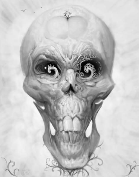 Burton Gray's Black White painting of a surreal skull