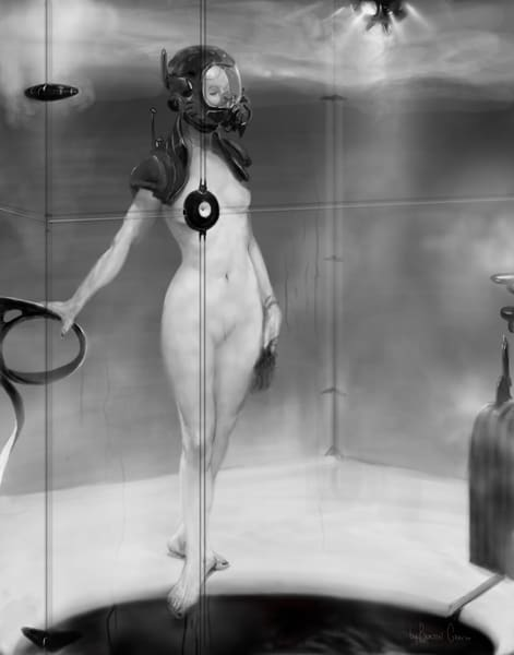 Burton Gray fine art painting of nude wearing gas mask.