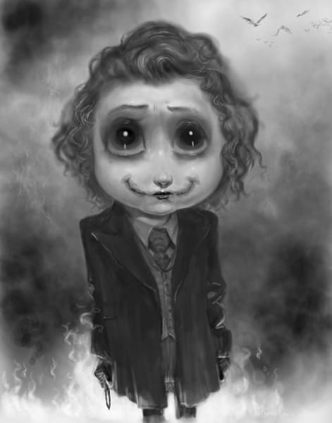 Burton Gray painting of a cute joker baby.