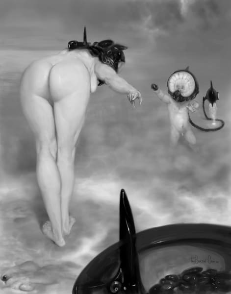Burton Gray Painting of semi dystopian mother and child.