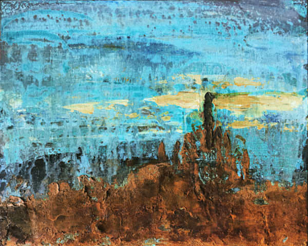 Ashes and Diamonds, abstract landscape painting in reactive metals