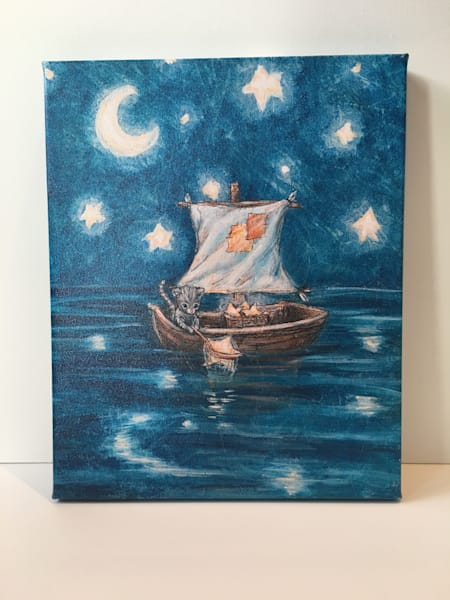 ready to Ship 12x15 Canvas: Cat Fishing for stars