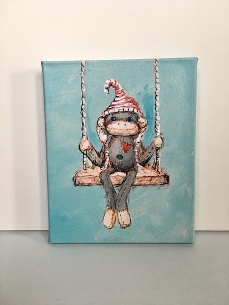 Ready to Ship 8x10 canvas: Sock Monkey on Swing