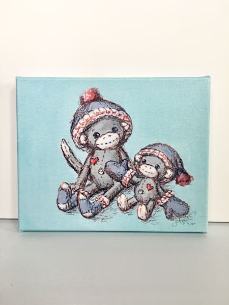 Ready to Ship 8x10 canvas: Sock Monkeys in Mittens and Hat