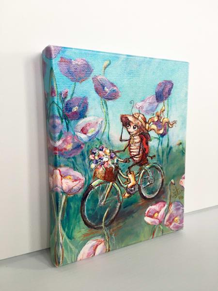 Ready to Ship 8x10 canvas: Ladybug on a Bike