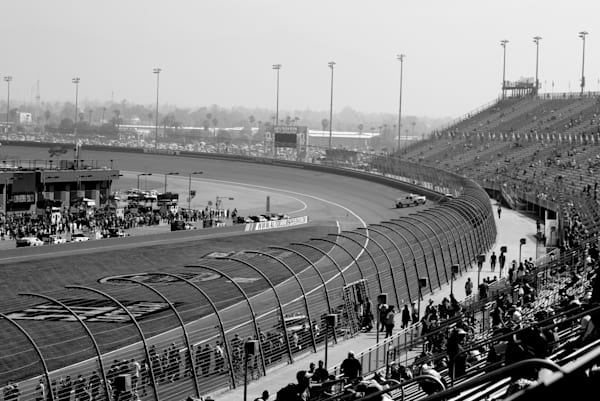 Race fans in the stands at Auto Club Speedway.