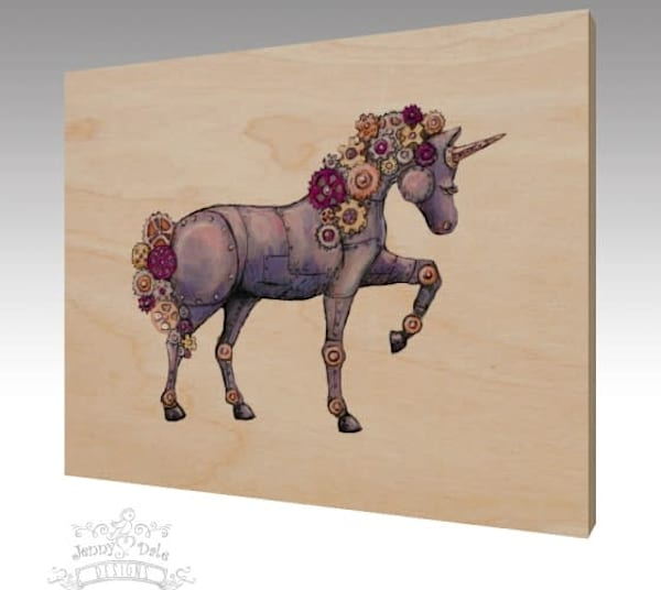 Ready to Ship 8x10 Wood Print: Steampunk Unicorn