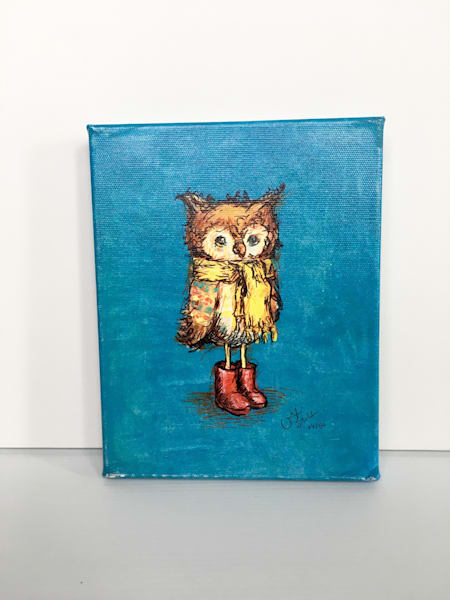 Ready to Ship 8x10 canvas: Owl in Red Boots