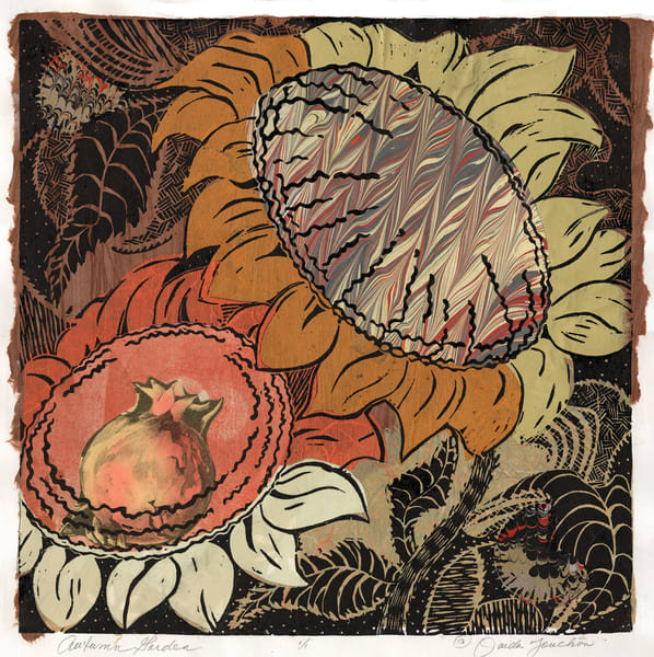New Work, Autumn Garden woodcut print with a warm palette of colors by Ouida Touchon