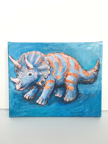 Ready to Ship 8x10 canvas: Blue Triceratops