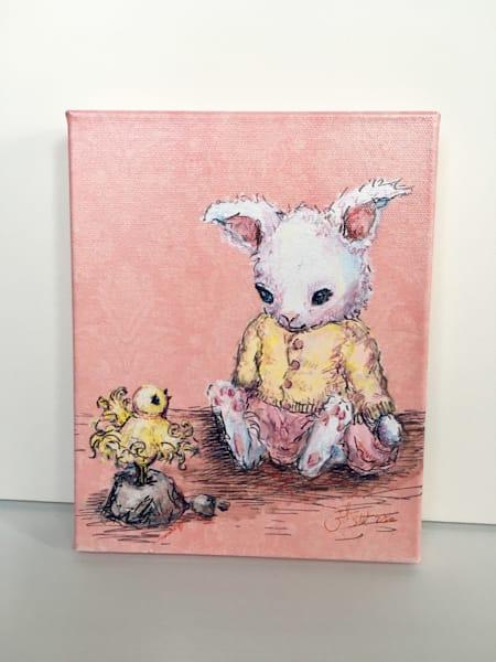 Ready to Ship 8x10 canvas: Bunny and Bird
