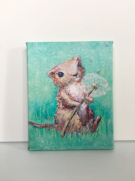 ready to Ship 8x10 canvas: Gopher and Dandelion
