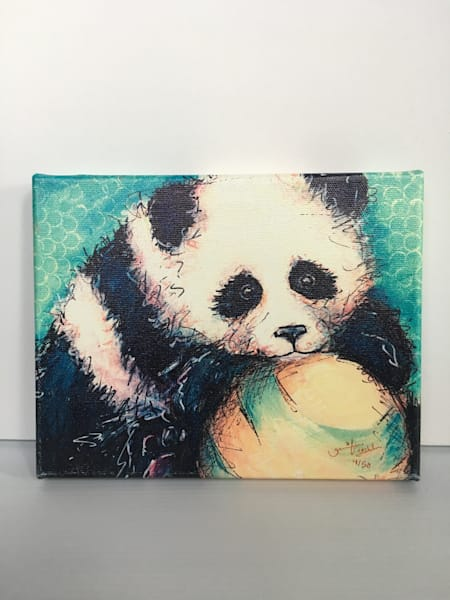 Ready to Ship 8x10 canvas: Panda and Ball