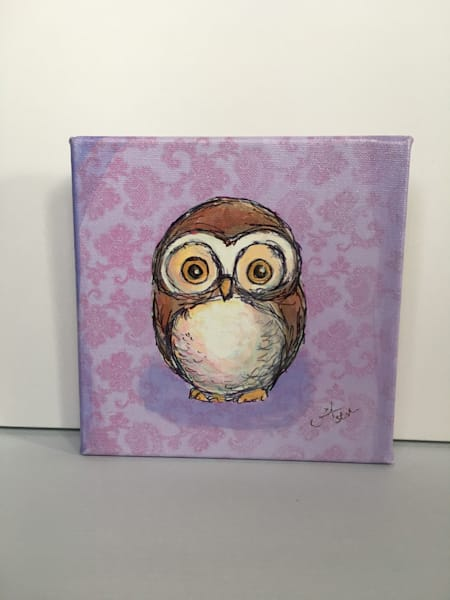 Ready to Ship 8x8 canvas: Owl with purple background